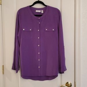 Chico's Purple Long Sleeve Blouse Size 2